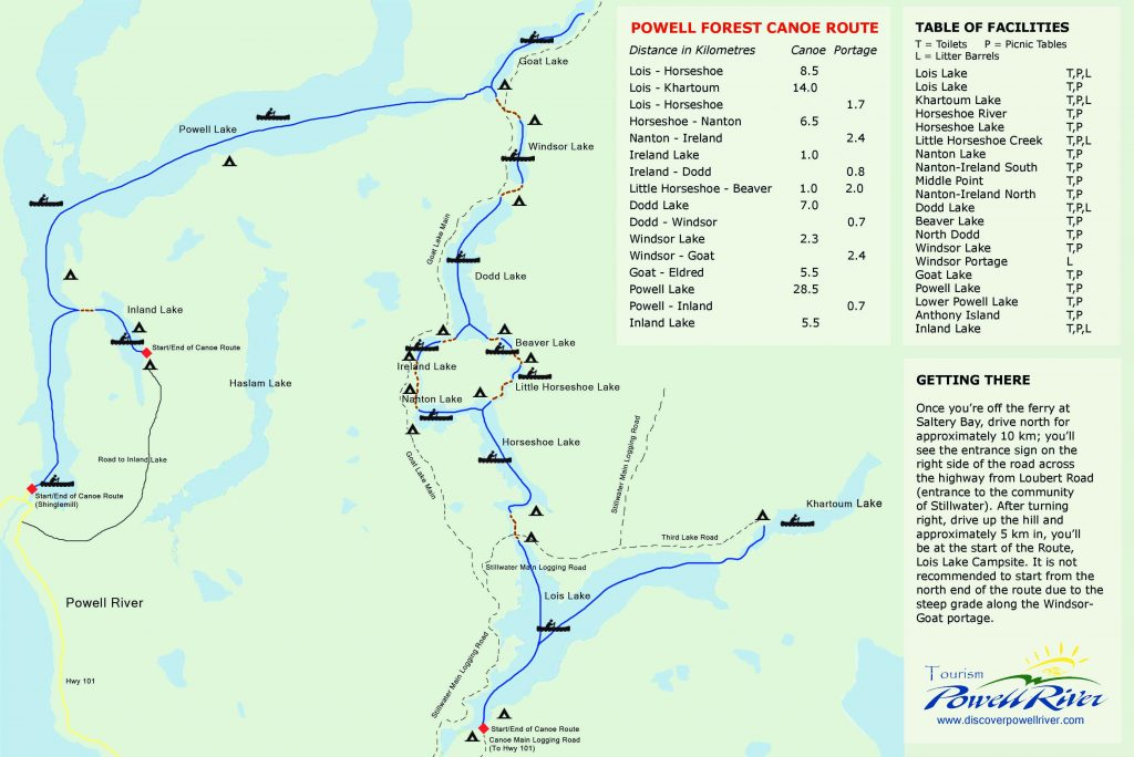 Powell Forest Canoe Route Circuit Map